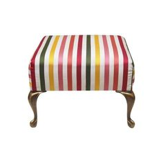 Image of Silk Striped Footstool with Brass Legs