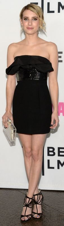 Who made Emma Stone's black off the shoulder dress, clear clutch handbag, jewelry, and sandals that she wore in Los Angeles on May 5, 2014? Dress – Saint Laurent  Shoes – Jimmy Choo  Purse – Charlotte Olympia  Rings – Elahn and Anita Ko  Earrings – Jacquie Aiche and Anita Ko
