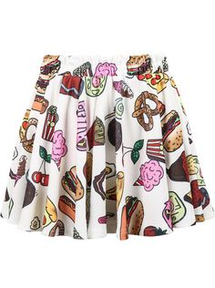 9ca2ee3c72ce White Desserts Print Pleated Skirt pictures Flared Skirt