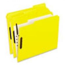 Desk Supplies>Desk Set / Conference Room Set>Holders> Files & Letter holders: Colored Folders With Embossed Fasteners, 1/3 Cut, Letter, Yellow, 50/Box
