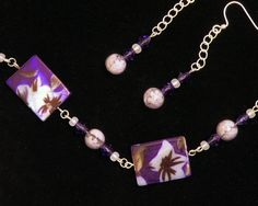Purple and White Flowered Tropical Necklace and by BeadsforBunnies, $35.00