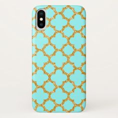 Modern Faux Gold Glitter Mosaic Quatrefoil Pattern iPhone X Case - antique gifts stylish cool diy custom