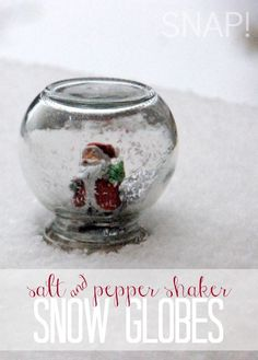 salt and pepper shaker snow globe santa via SNAP