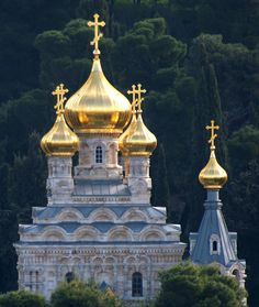 Russian Orthodox Church of St Mary Magdalene on the Mount of Olives. Built by Tsar Alexander III (1888), it looks like something out of a fairytale.