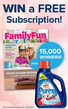 Enter to win a free 1-year subscription to FamilyFun magazine. Thousands will win!