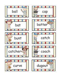 Even de Engelse woorden vervangen door Nederlandse :) Preschool Printables: Baseball