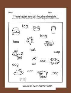 Fun three letter word and picture matching activity worksheets for preschools Capital Letters Worksheet, Letter Worksheets For Preschool, Preschool Names, English Worksheets For Kids, Phonics Worksheets, Matching Worksheets, Numbers Preschool, School Worksheets, Three Letter Words