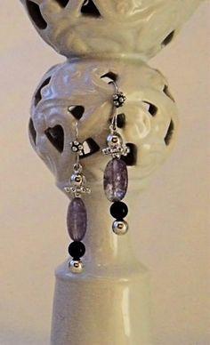 Pink, Purple and Silver Dangle Fish Hook Earrings   AmeliaOriginals - Jewelry on ArtFire