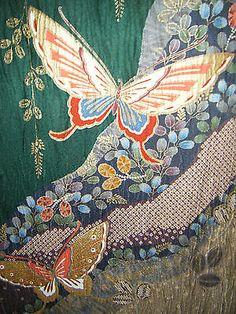 RARE-Green-Gold-Japanese-Crepe-Silk-Furisode-Kimono-w-Butterflies-Floral