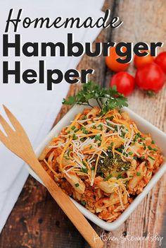 Use gluten-free pasta--Homemade Hamburger Helper - A from-scratch, homemade hamburger helper recipe using real food. A kid-friendly and husband-approved easy real food dinner! Recipes Using Hamburger, Homemade Hamburger Helper, Beef Recipes, Whole Food Recipes, Cooking Recipes, Healthy Recipes, Dinner Recipes, Cheap Recipes, Simple Recipes