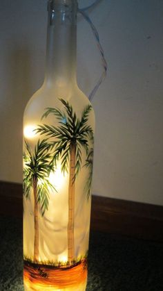 Hand Painted Frosted Palm Tree Lighted Wine Bottle Lighted Lantern Bar Light Night Light - All For Decoration Painted Glass Bottles, Lighted Wine Bottles, Painted Wine Glasses, Bottle Lights, Liquor Bottles, Perfume Bottles, Wine Bottle Art, Glass Bottle Crafts, Diy Bottle