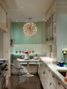 Park Avenue Modern - transitional - Kitchen - New York - Penny Drue Baird, Dessins LLC Modern Kitchen Tables, Kitchen Benches, Mint Kitchen, Kitchen Decor, Kitchen Ideas, 1960s Kitchen, Kitchen Planning, Ranch Kitchen, Cheap Kitchen