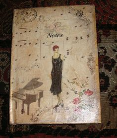 note book Decoupage Art, Vintage World Maps, Notes, Book, Cards, Painting, Report Cards, Painting Art, Notebook