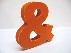Wood Ampersand Sign - 5 Inch Shelf Sitter Style - Painted Orange - Distressed - Typography - Wedding Decor. $9.99, via Etsy.