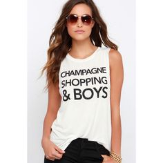 They key to a fun weekend is a little bubbly and the Champagne, Shopping  and Boys Cream Muscle Tee! Slub knit forms a muscle tee with Champagne  Shopping ...