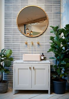 Our vanity unit on display in our London showroom. Features Studio Ore tap, sink by Kast Conrete Basins and handles by Armac Martin. Woody Tiles by Design. Bespoke Handles, Concrete Basin, Vanity, Vanity Units, Bathroom Vanity Units, Furniture, Bathroom Decor, Round Mirror Bathroom, Interior Styling