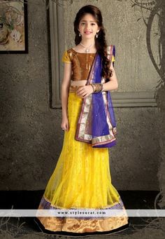 Girls Lehenga Choli, Net Fabric in Yellow Color Kids Lehenga Choli, Lehenga Style Saree, Party Wear Lehenga, Sari, Lehenga Blouse, Sarees Online India, Lehenga Choli Online, Indian Dresses, Indian Outfits