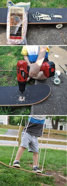 Tire swings are tired. Build a skate swing! | 25 Amazing Backyard Ideas To Keep Your Family Outdoors