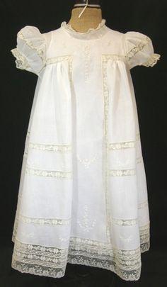 White Dedication Dress using Antique T yoke Baby Dress by OFB