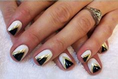 CND Shellac - Black Pool, Cream Puff, Gold glitter