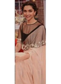 New Latest Peach & Black Designer Saree By Kmozi..  http://www.kmozi.com/bollywood-replica/bollywood-saree/new-latest-peach-black-designer-saree-by-kmozi-780