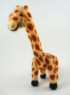 Needle Felted Giraffe via Etsy.