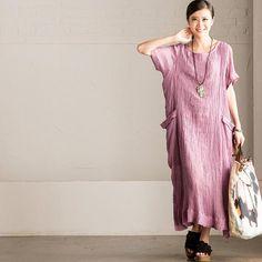 Purple Art Linen Big Pocket Long Dress Summer Casual Women Clothes Q6200A