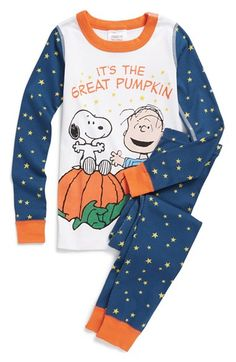 Hanna Andersson 'Peanuts® - Great Pumpkin' Organic Cotton Two-Piece Fitted Pajamas (Toddler Boys, Little Boys & Big Boys) available at #Nordstrom