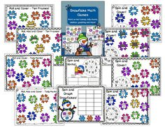 A blog post about my Snowflake Math Games pack to work on graphing, tallying, ten frames and more! A great addition to your kindergarten math  centers.