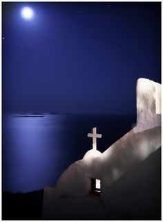 Silver moonlight over church in Astypalaia, Dodecanese, Greece