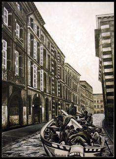 """ÉGALITÉ: """"La patera"""" 2014 technique mixte sur panneau  153 x 110 cm"""