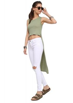 Jodi High Low Ribbed Crop Top in Olive | Necessary Clothing