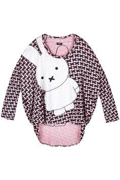 Romwe : Rabbit Print Pink T-shirt $62.99