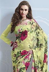 You can be sure that ethnic fashions selections of clothing are taken from the latest trend in today's fashion. This light pastel green brasso faux georgette saree is nicely designed with floral, geometric print, lace and patch work. Saree gives you a singular and dissimilar look. Matching blouse is available. Slight color variations are possible due to differing screen and photograph resolution.