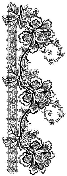 Inspiration - transfer pictures with lace, line pattern PaGi Decoplage Lace Patterns, Embroidery Patterns, Hand Embroidery, Colouring Pages, Coloring Books, Lace Design, Pattern Design, Lace Tattoo, Motif Floral
