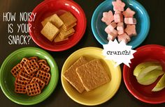 Exploring the sense of hearing with noisy snacks (this would be a fun addition to our sound wave unit/health senses/how the ear works. 5 Senses Craft, Five Senses Preschool, 5 Senses Activities, My Five Senses, Preschool Music, Science Activities For Kids, Science Experiments Kids, Sensory Activities, Learn Science