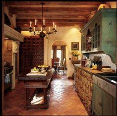 Mediterranean homes – Mediterranean Home Decor Kitchen Decor, Kitchen Styling, Kitchen Interior, Home Kitchens, Log Home Kitchens, Western Kitchen, Spanish Style Kitchen, Mediterranean Home Decor, Rustic Kitchen
