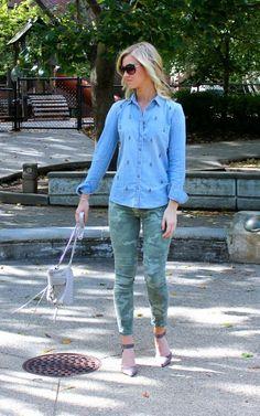 Glam Chambray + Camo + d'orsay Heels on confessionsoftheglitterati.com - #Gap #Solesociety #JCrew #RebeccaMinkoff