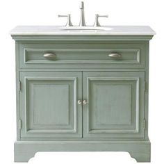 Home Decorators Collection Sadie 38 in. Vanity in Antique Blue with Marble Vanity Top in White with White Basin