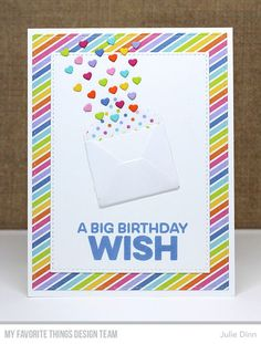 Sending Birthday Wishes Card Kit, Stitched Rectangle STAX Die-namics - Julie Dinn #mftstamps