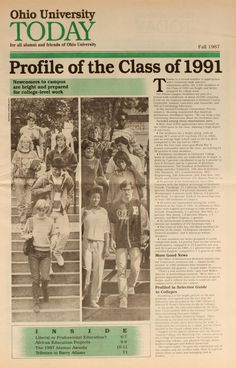 """Ohio University Today, Fall 1987. """"Profile of the Class of 1991."""" This was my graduating class!"""