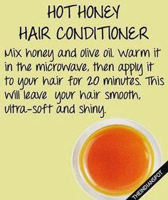 Get soft, shiny hair with a hot honey hot conditioner - #honey #shinyhair…
