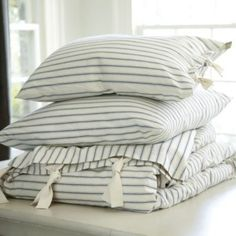 Ticking Stripe Duvet - Navy | Ballard Designs