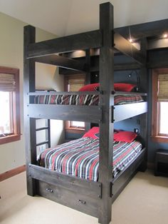 "Queen Bunk bed with 6"" square posts and integrated lighting. Haak Designs. www.haakdesigns.com"