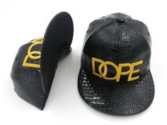 830740be20a Mens Dope Couture The Gold Dope Lock Logo Fashion Trending Faux Croc  Leather Snapback Cap - Black
