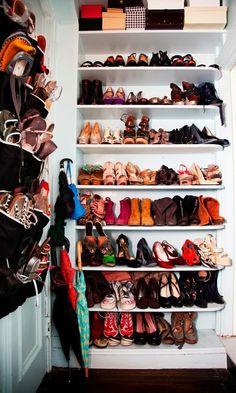 Shoe closet inspiration - http://mylusciouslife.com/stylish-home-shoe-closets/