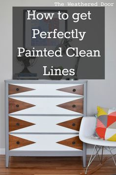 I got a question about how to get clean lines when painting a design on furniture, so I thought I'd address and explain that here  I've been working on another mid century piece where I…