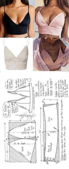 Top bralette for flat fabric DIY - shaping, cutting and seaming - Marlen . - Top bralette for flat fabric DIY – shaping, cutting and stitching – Marlene Mukai – - Diy Clothing, Clothing Patterns, Diy Clothes Tops, Diy Clothes Design, Sewing Clothes Women, Clothing Styles, Barbie Clothes, Diy Kleidung, Easy Sewing Patterns