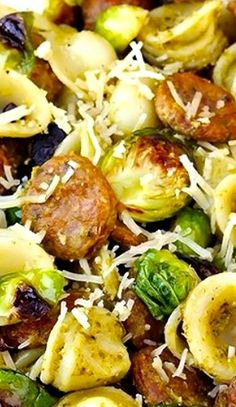 Pesto Pasta With Chicken Sausage Roasted Brussels Sprouts Recipe ~ Easy and Delish!