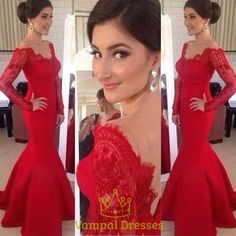 vampal.co.uk Offers High Quality Red Lace Off The Shoulder Sheer Long Sleeve…